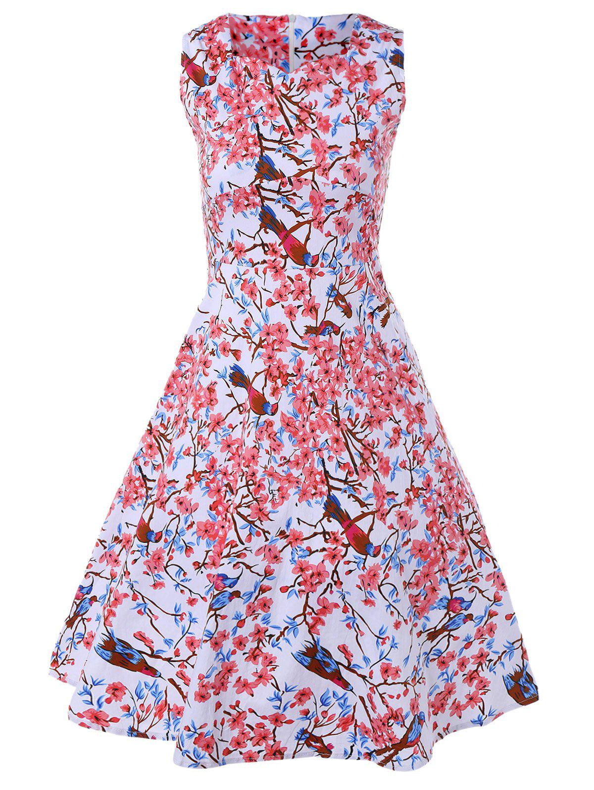 Vintage Floral Fit and Flare Dress - PINK 2XL