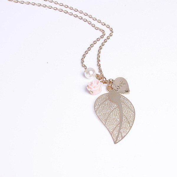 Sweet Delicate Pearl Leaf Flower Heart Pendant Sweater Chain Necklace For Women - COLORMIX