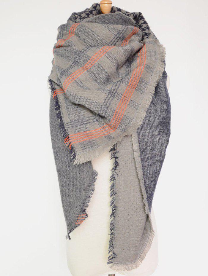 Casual Plaid and Houndstooth Pattern Fringed Big Square Scarf - DEEP BLUE
