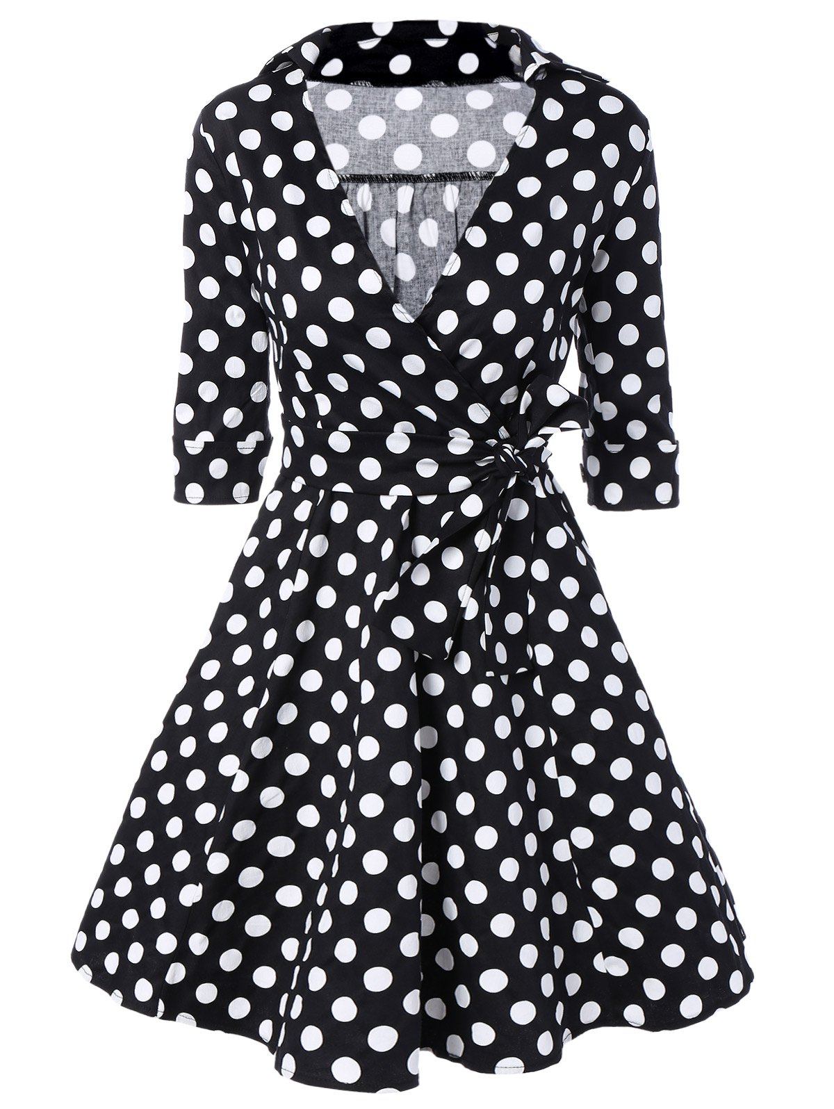 Vintage Polka Dot Print Wrap Swing Dress - BLACK 2XL