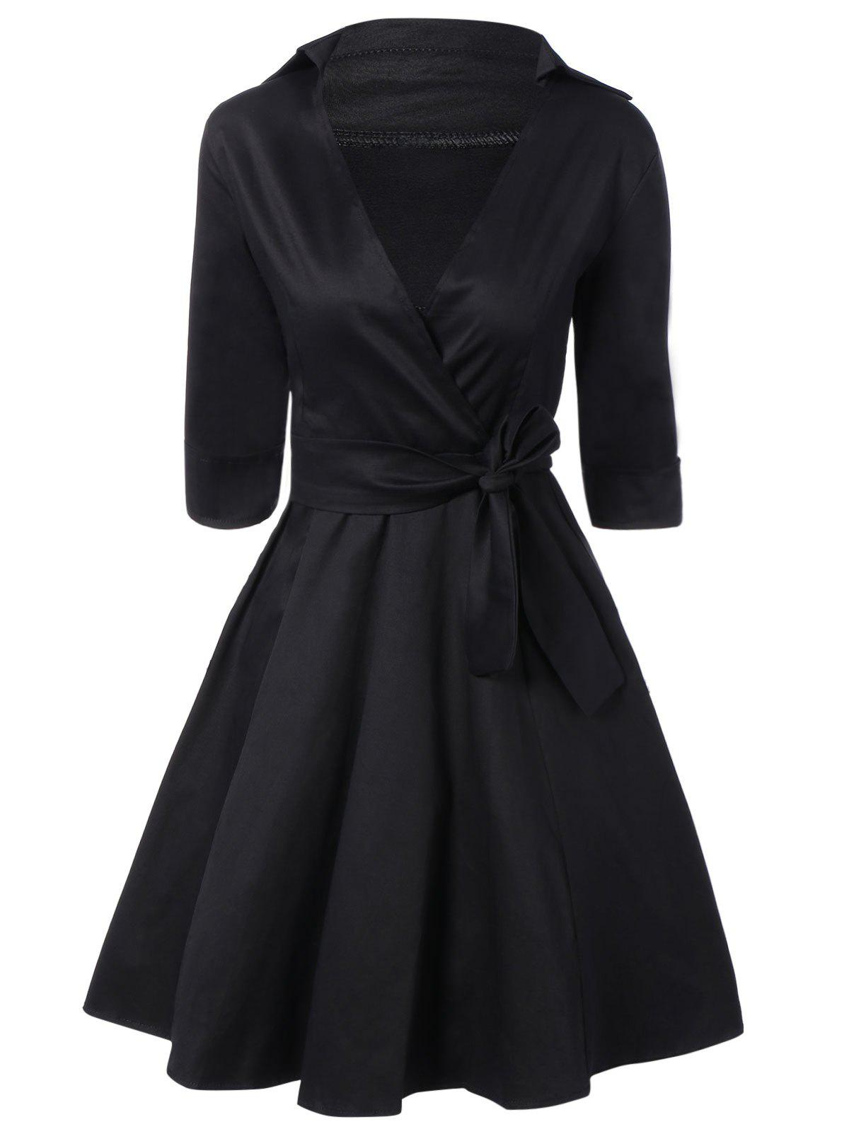 Vintage 3/4 Sleeve Wrap Swing Dress - BLACK 2XL