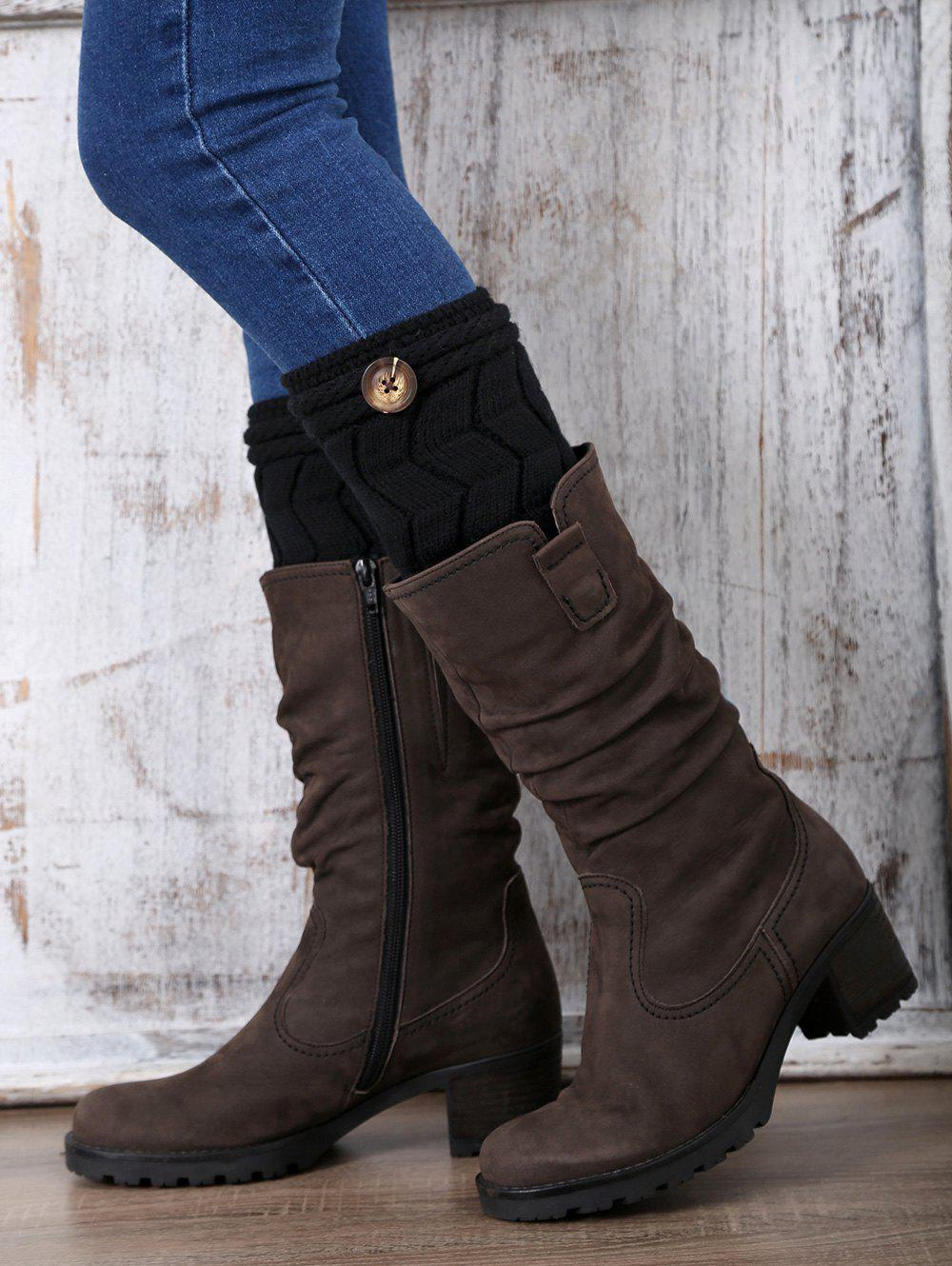 Casual Button Letter W Shape Knitted Boot CuffsAccessories<br><br><br>Color: BLACK