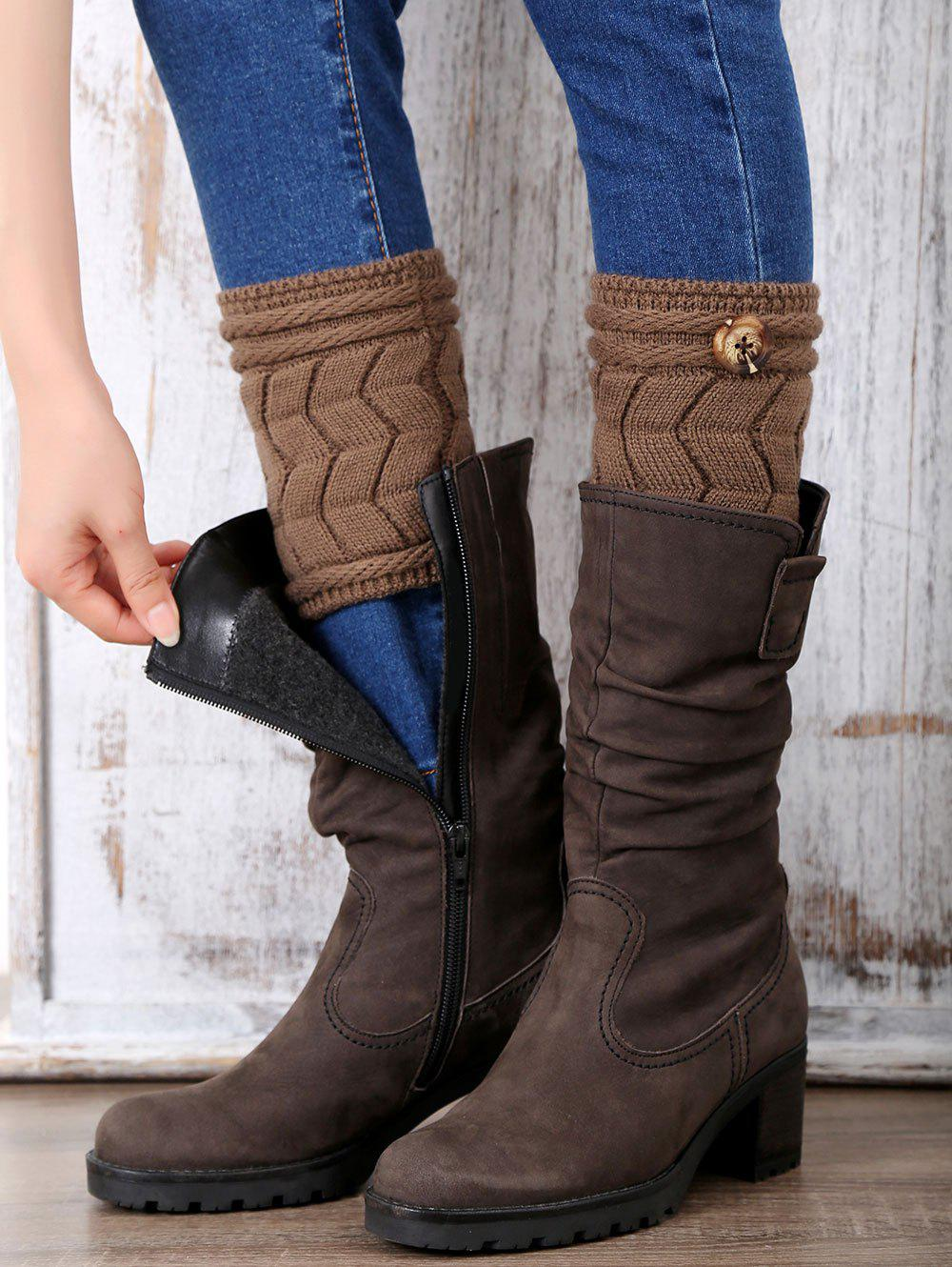Casual Button Letter W Shape Knitted Boot Cuffs - DARK COFFEE