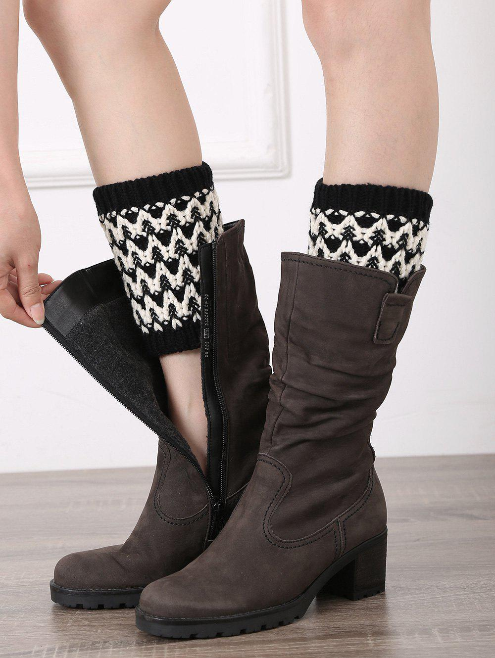 Casual Wavy Stripe Knitted Boot Cuffs - BLACK