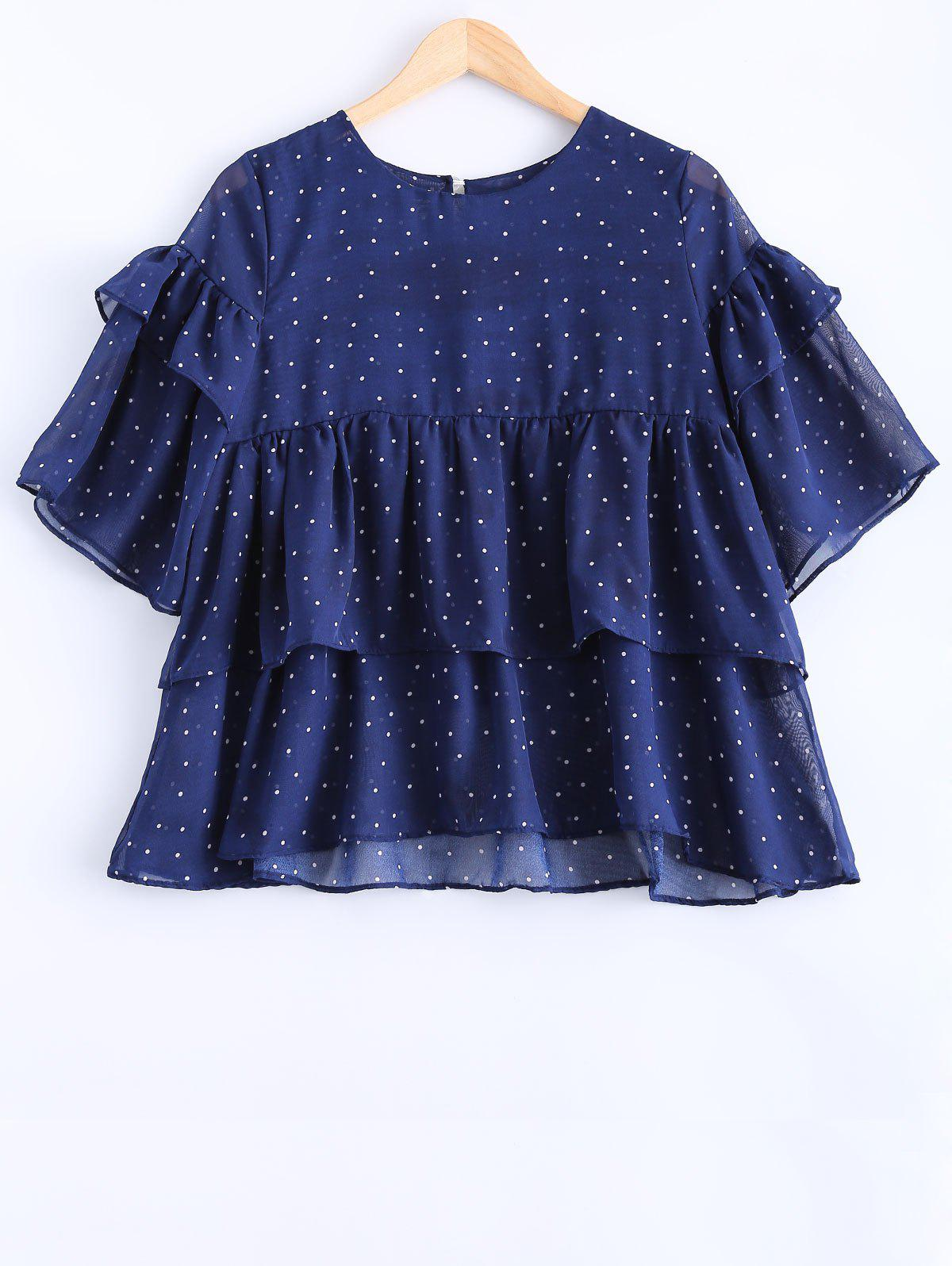 Long Sleeve Polka Dot Flounced Chiffon Blouse - PURPLISH BLUE 4XL