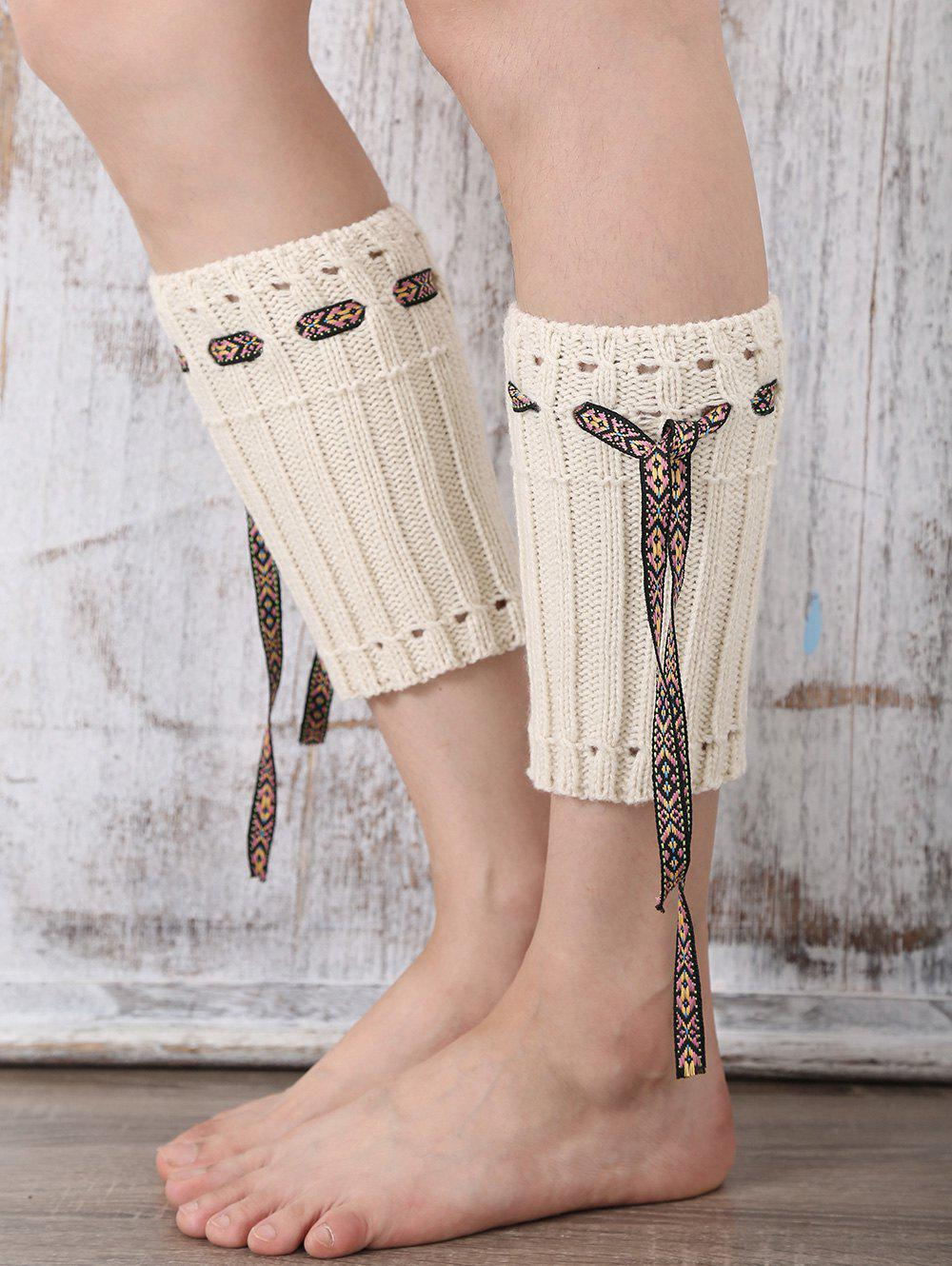 Casual Ethnic Lace-Up Reeved Knitted Boot Cuffs - WHITE