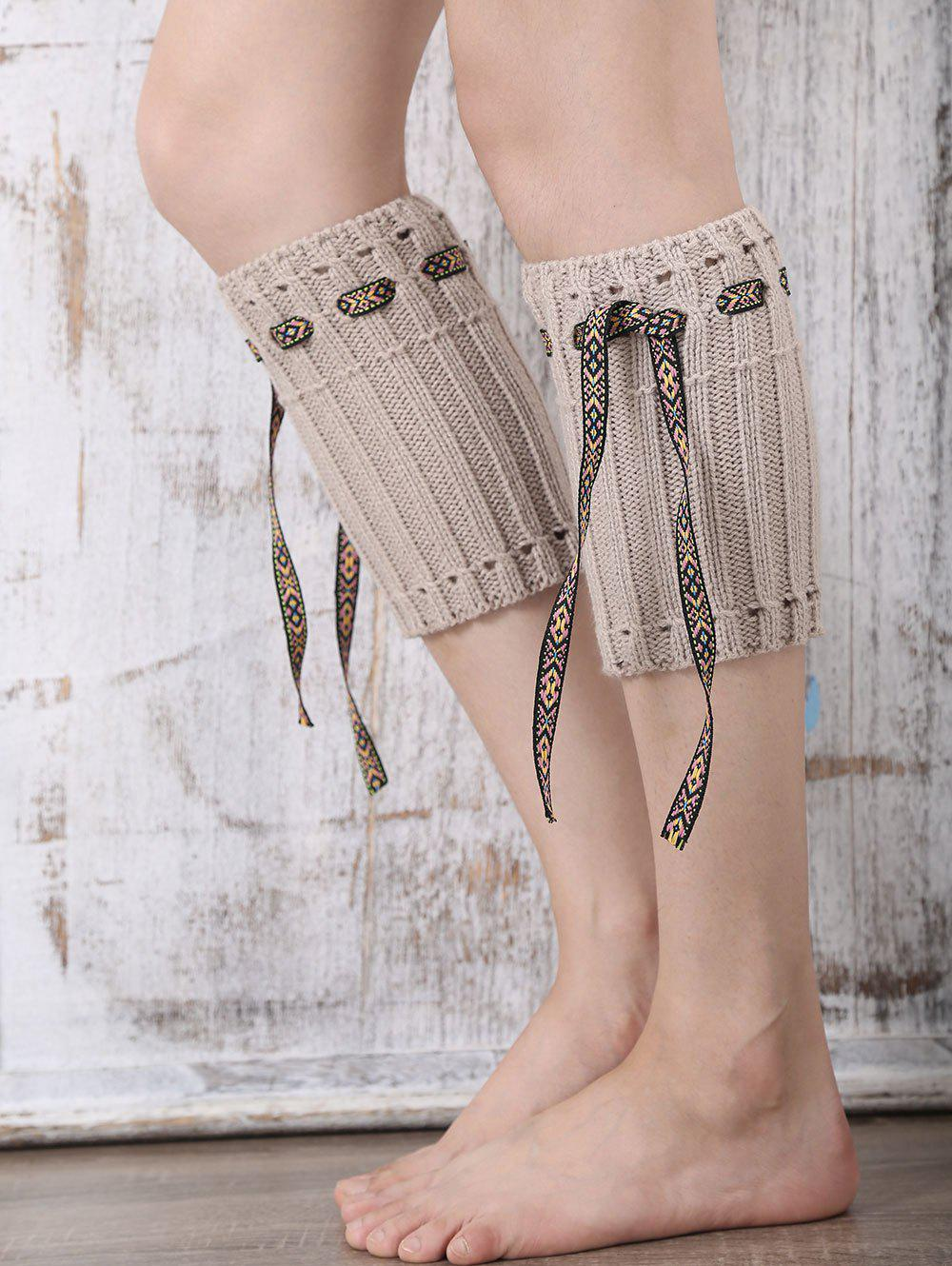 Casual Ethnic Lace-Up Reeved Knitted Boot Cuffs - KHAKI