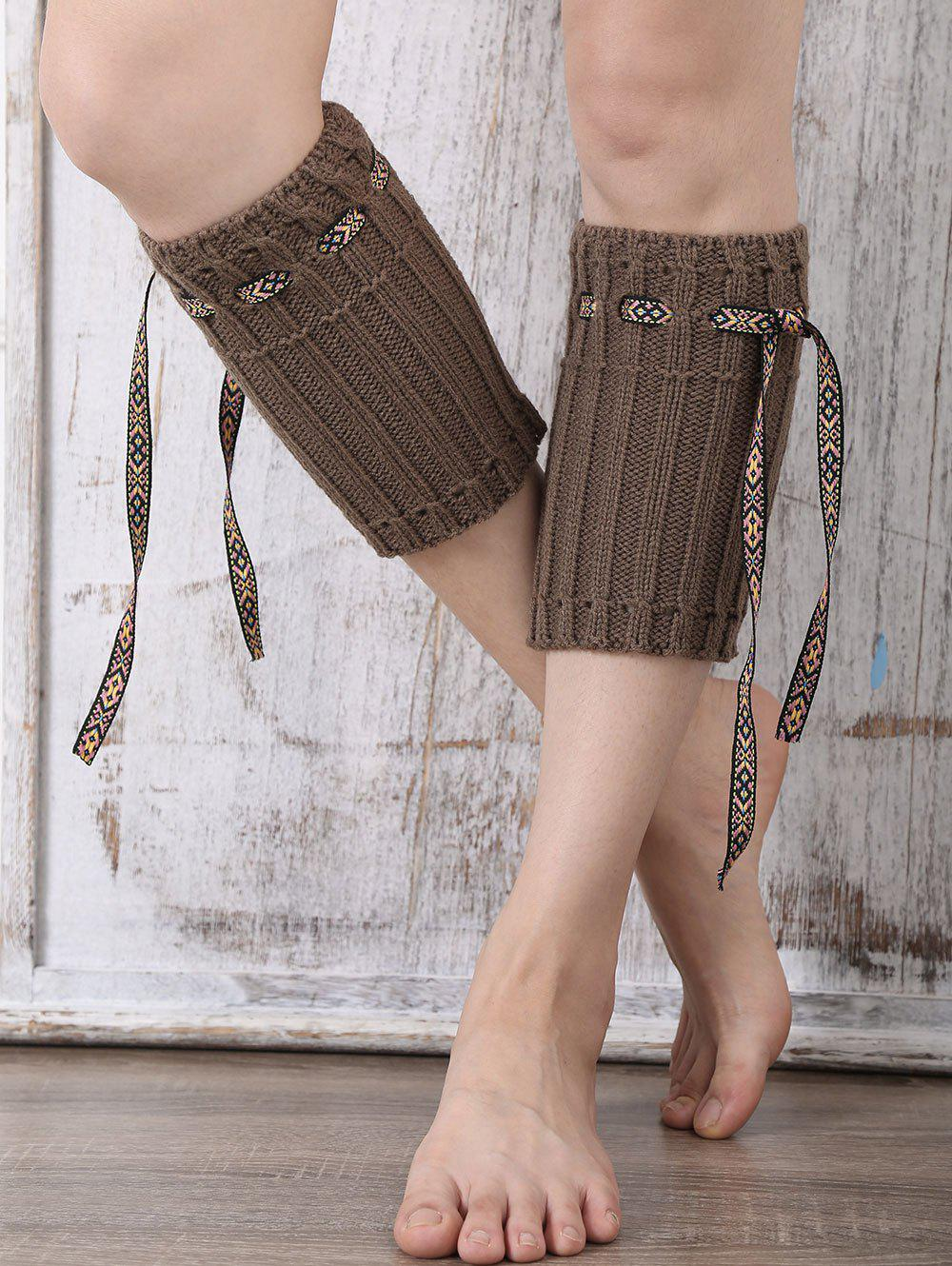 Casual Ethnic Lace-Up Reeved Knitted Boot Cuffs - DARK COFFEE