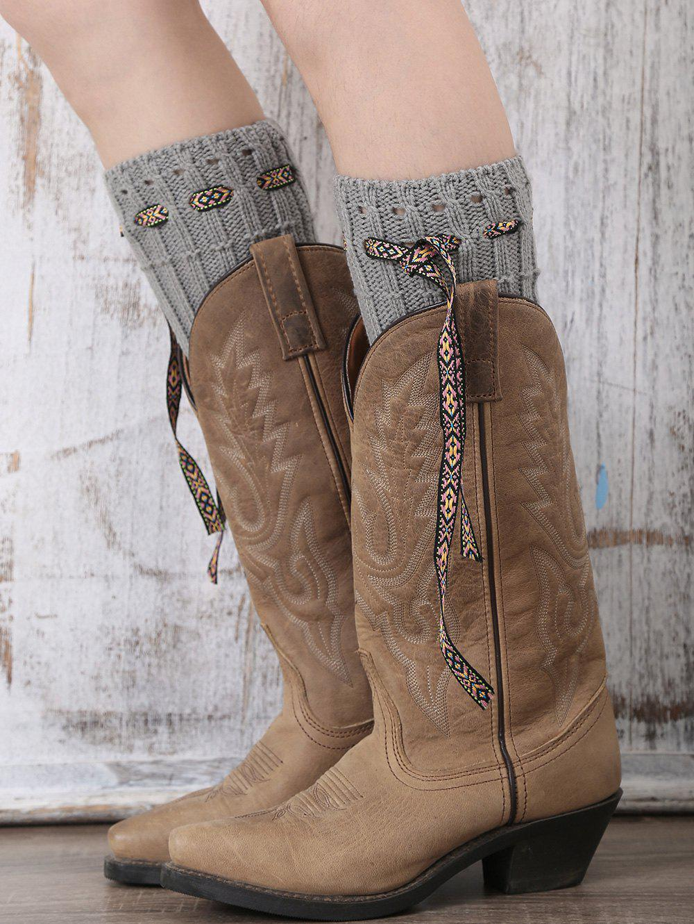 Casual Ethnic Lace-Up Reeved Knitted Boot Cuffs - GRAY