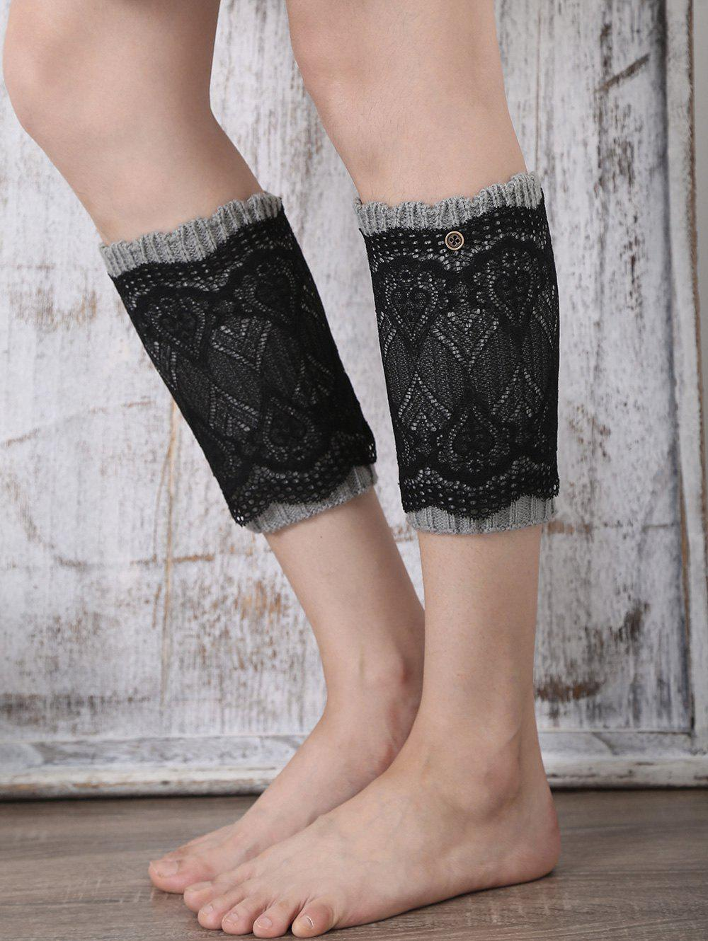 Casual Button Double-Deck Lace Knitted Boot Cuffs - GRAY