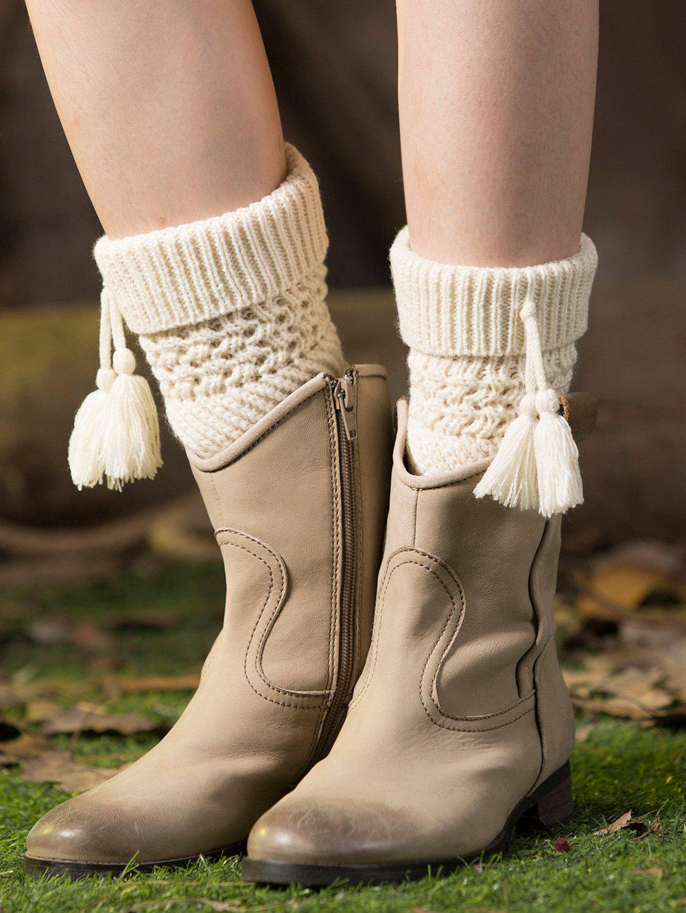 Casual Tassel Pendant Flanging Knitted Boot Cuffs - WHITE
