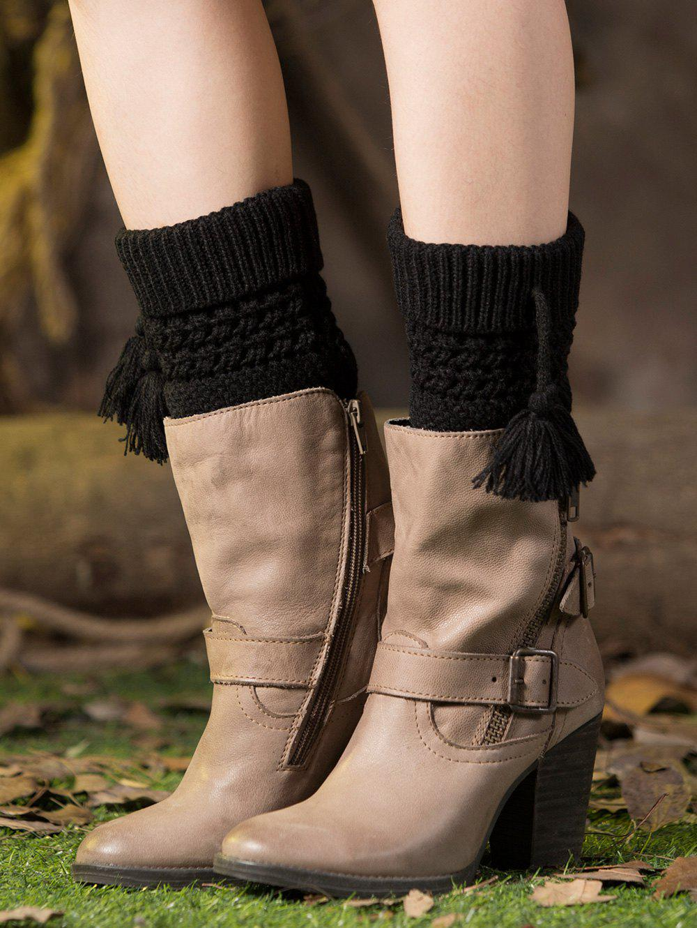 Casual Tassel Pendant Flanging Knitted Boot Cuffs - BLACK