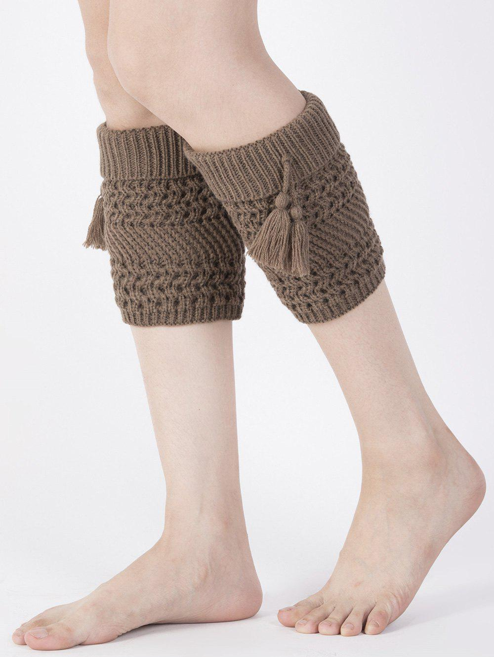 Casual Tassel Pendant Flanging Knitted Boot Cuffs - COFFEE