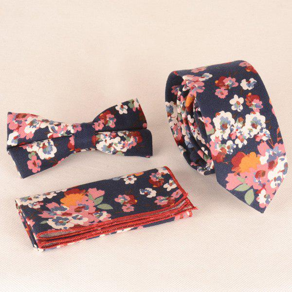 A Set of Oil Painting Flower Pattern Tie Pocket Square Bow Tie - CADETBLUE