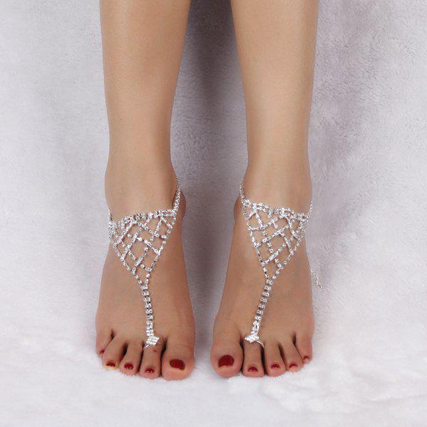 Tiered Triangle Rhinestone Toe Ring Anklet - SILVER