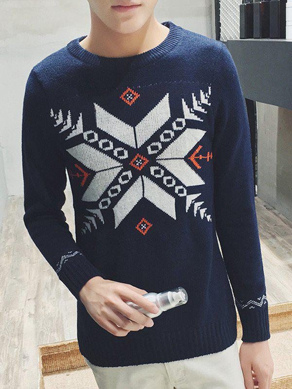 Long Sleeve Zigzag Geometric Pattern Ribbed Sweater - CADETBLUE M