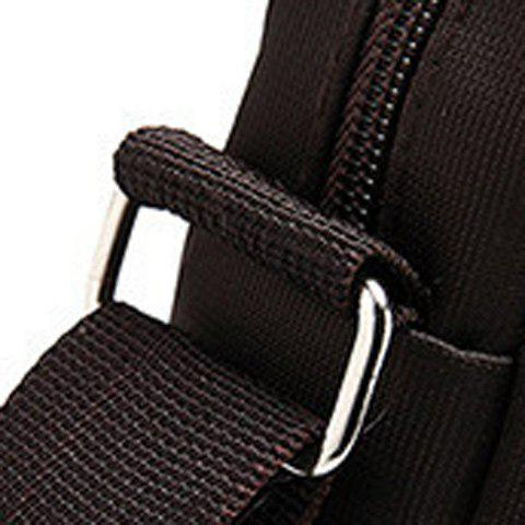Casual Nylon Zip Messenger Bag - COFFEE