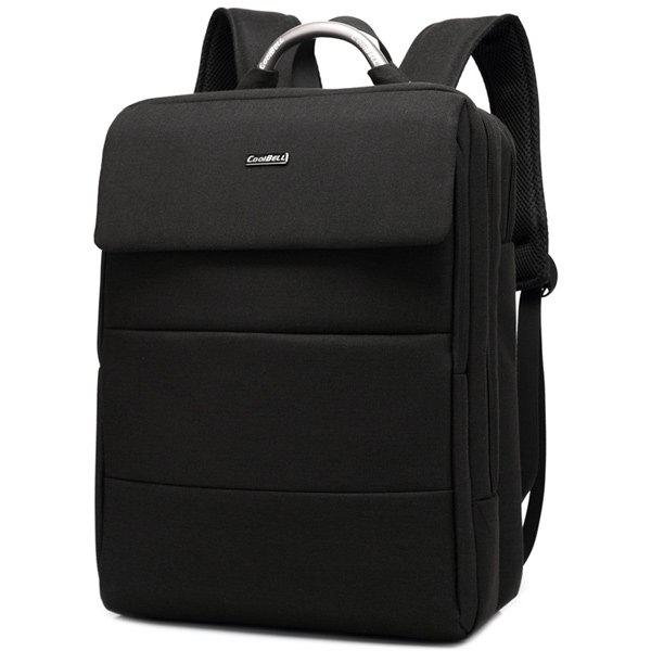 Letter Nylon 15 Inch Laptop Backpack - BLACK
