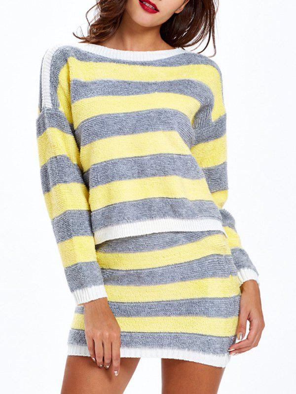Long Sleeve Striped Sweater and Skirt - YELLOW ONE SIZE