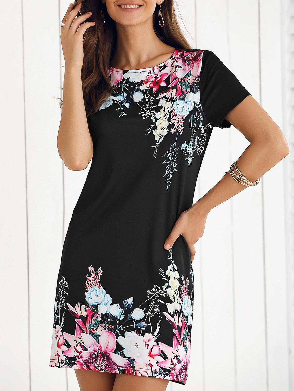 Elegant Floral Shift Dress - BLACK XL