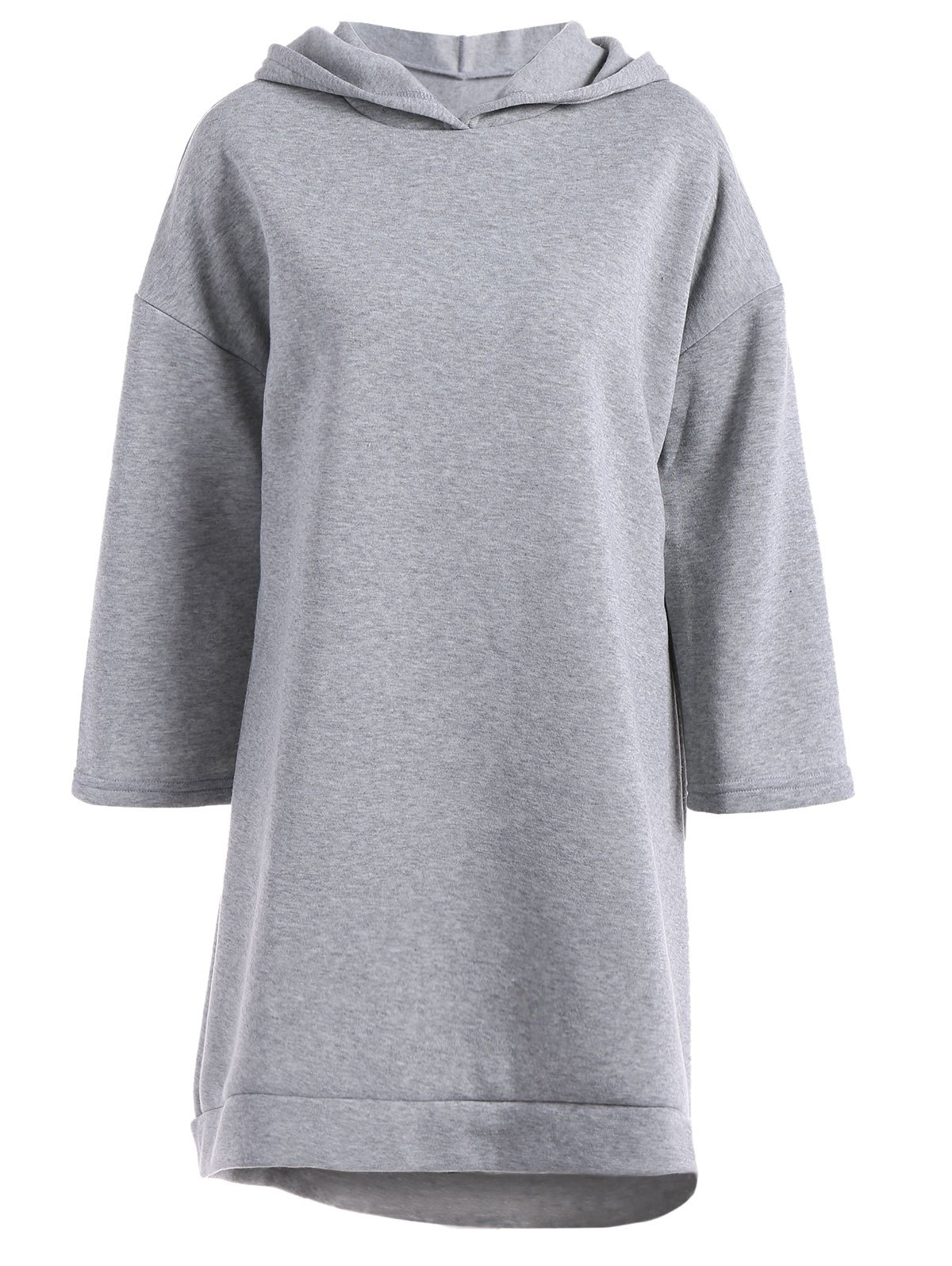 Loose Fitting High Low Fleece Hooded Dress - GRAY S