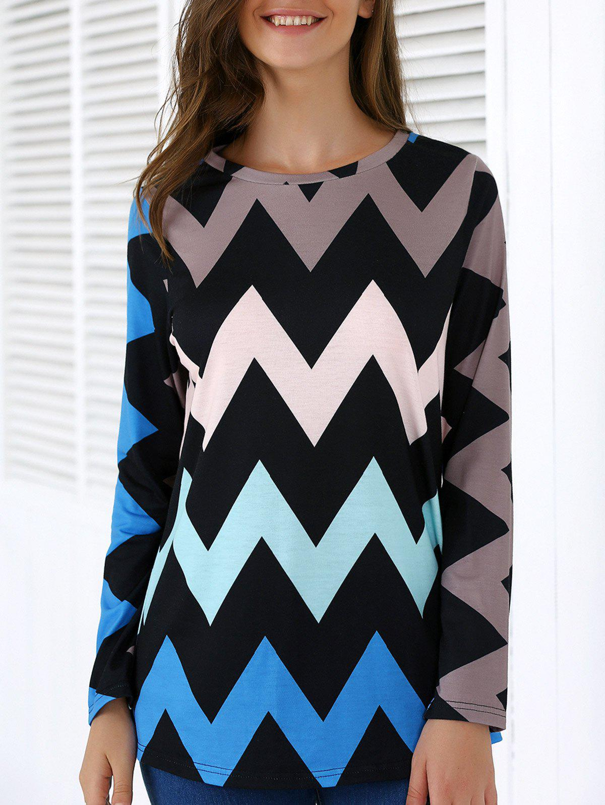 Chevron Print Long Sleeve T-Shirt