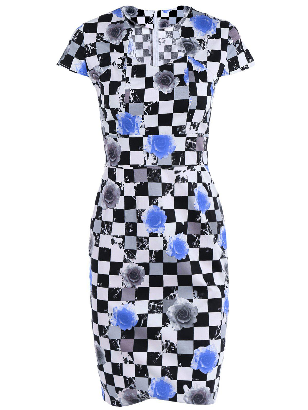 Plaid Cape Sleeve Sweetheart Neck Printed  Sheath Dress - GREY/WHITE/BLUE M