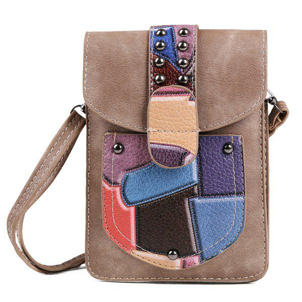 Metal Color Splicing Geometric Pattern Crossbody Bag - CAMEL