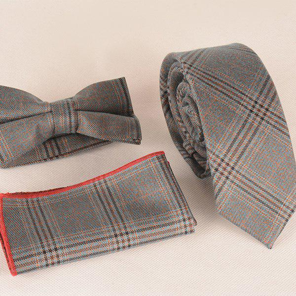 A Set of Classical Tartan Pattern Tie Pocket Square Bow Tie - GRAY