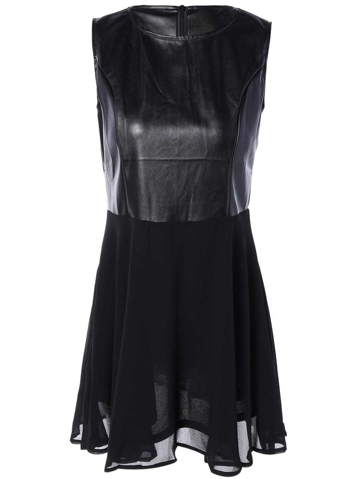 Chiffon Spliced PU Leather High Waist Dress - BLACK S