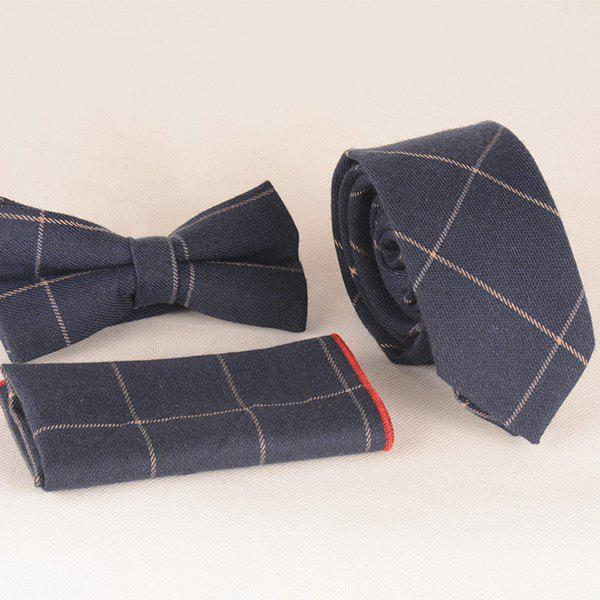 A Set of Gingham Pattern Tie Pocket Square Bow Tie