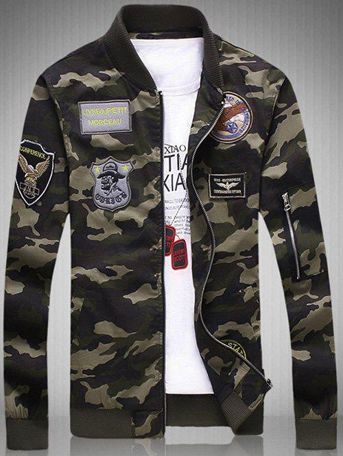 Buy Plus Size Appliques Rib Spliced Stand Collar Long Sleeve Camouflage Jacket CAMOUFLAGE