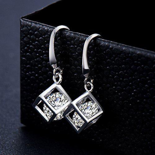 Rhinestone Square Cube Earrings - SILVER