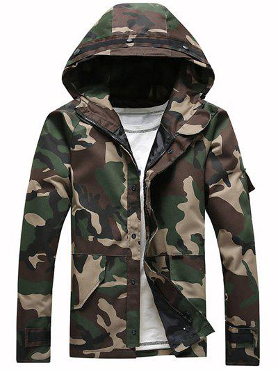 Buy Loose-Fitting Hooded Long Sleeve Camouflage Jacket CAMOUFLAGE