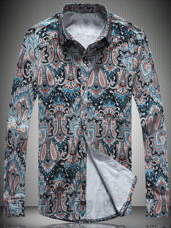Color Block Paisley Printed Turn-Down Collar Long Sleeve Shirt - COLORMIX M