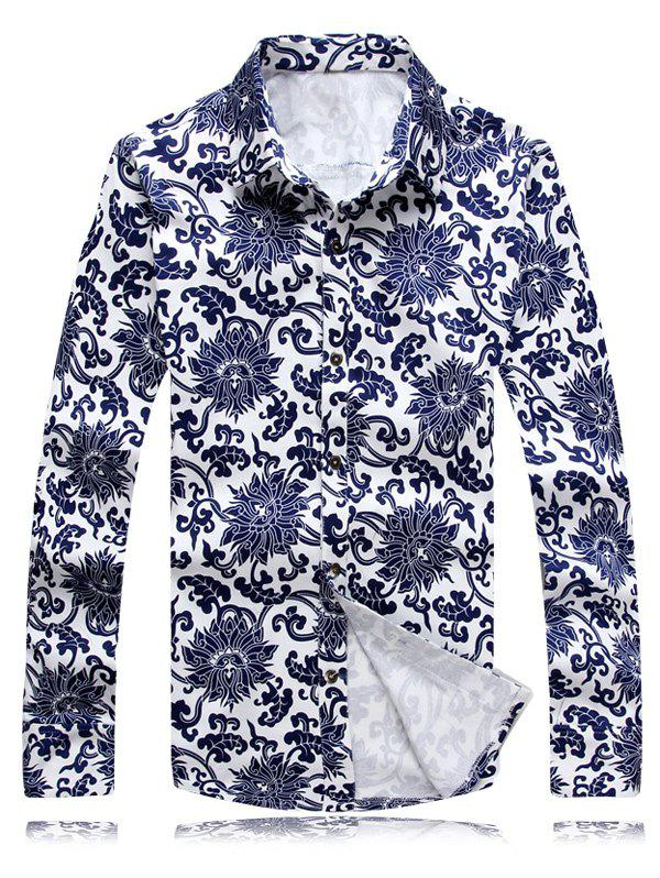 Turn-Down Collar Long Sleeve Chinoiserie Flowers Printed Shirt - WHITE 2XL