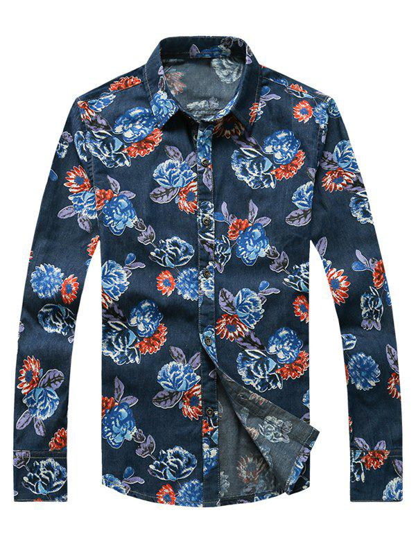 3D Fleur Imprimé Tournez-Down Collar Plus Size Long Sleeve Denim Shirt - [