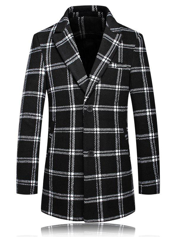 Checked Turn-Down Collar Plus Size Long Sleeve Single-Breasted CoatMen<br><br><br>Size: 3XL<br>Color: WHITE AND BLACK
