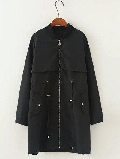 Drawstring Pocket Trench Coat - BLACK 2XL