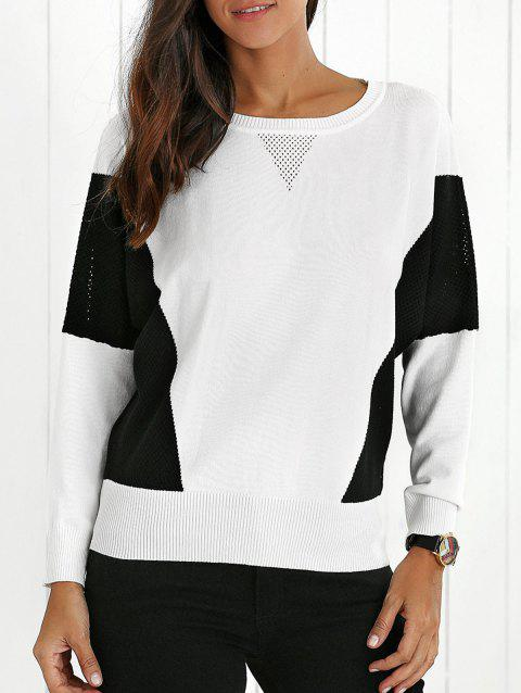 Color Block Openwork Ribbed Sweater - WHITE L