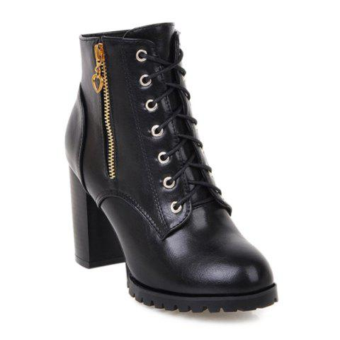 PU Leather Tie Up Double Zipper Ankle Boots - BLACK 37
