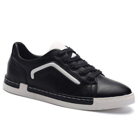 PU Leather Color Block Lace-Up Casual Shoes - BLACK 43