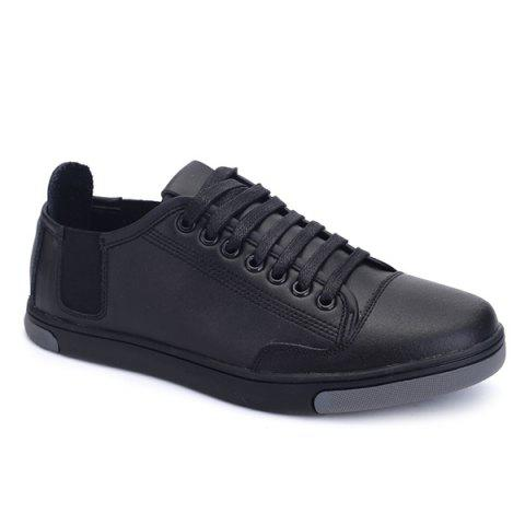 Round Toe Tie Up PU Leather Casual Shoes - BLACK 41