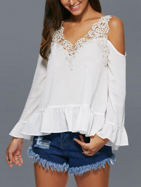 V Neck Lace Spliced Crochet Hollow Out Blouse - WHITE XL