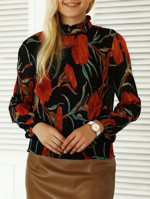 Pleated Flowers Print Ruffled Blouse - BLACK S