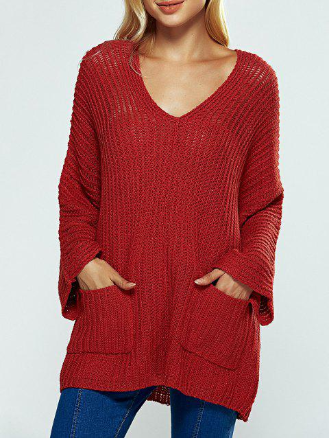 V Neck Textured Loose Sweater - WINE RED ONE SIZE