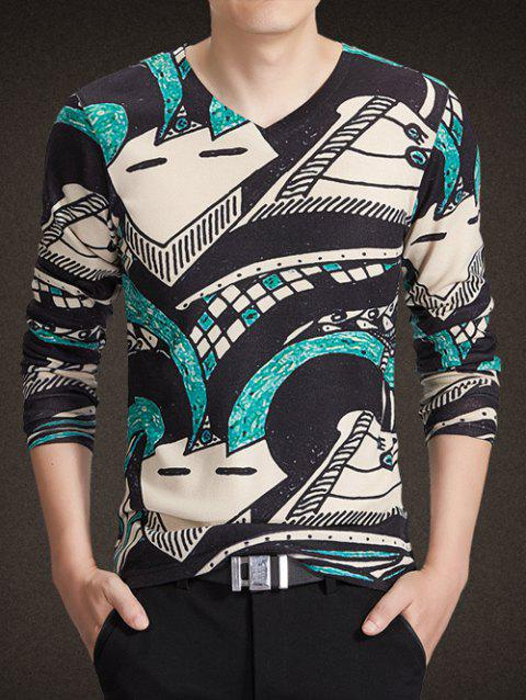 V-Neck Long Sleeve 3D Abstract Geometric Print Knitting T-Shirt - COLORMIX M