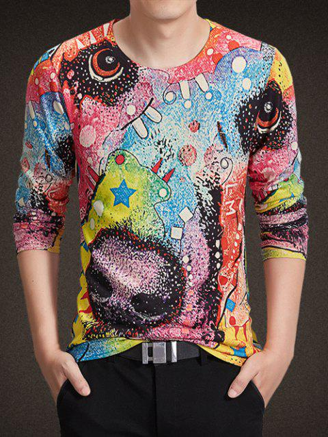 Round Neck Long Sleeve Colorful Abstract Geometric Print Knitting T-Shirt - COLORMIX 3XL