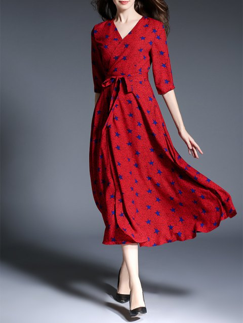 2019 Star Print Faux Wrap Belted Maxi Dress Rouge XL In Robes ... e84464277