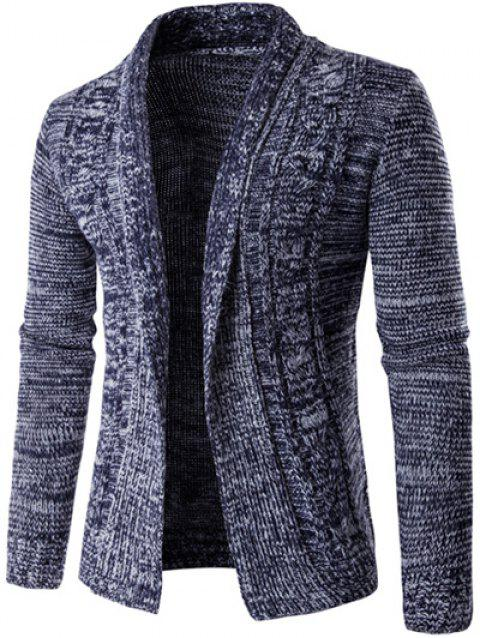 Tournez-Bas col en tricot Blends à manches longues Cardigan - Cadetblue M